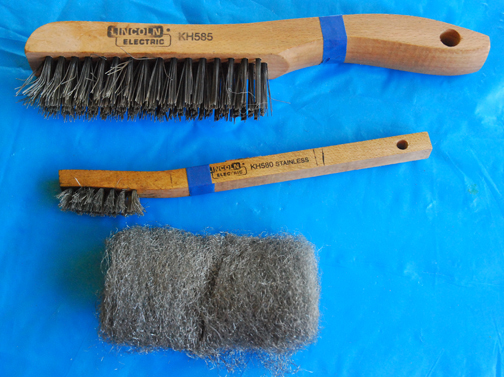 Tools for cleaning tools blades before sharpening, in addition you'll probably need a rag and turpentine to remove sap from pruning blades. Scotch-brite pads work well  and can repalce the steel wool.