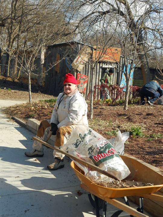 At first, we had to keep moving to keep warm but eventually the sun and the air felt good enough to enjoy sitting down. Paul Needle started earlier than most of us, in order to deliver 20 bags of mulch to our gardens.