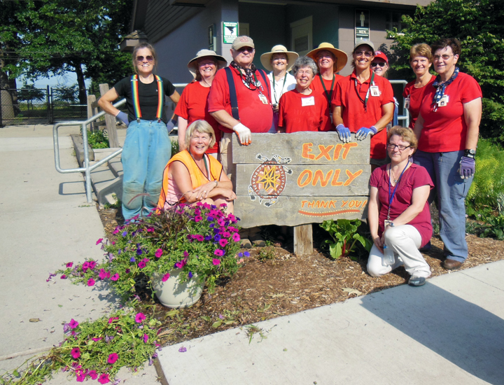 Approaching 100F and yet they're smiling. Gotta love a Detroit zoo Adopt-a-Garden volunteer! Here's how Janet, Shelley Welch, Judy Storrs, Paul Needle, Deb Tosch, Karen Thompson, Mary Wente-Lindsay, Dawn Miller, Sandy Niks, Debi Slentz, Marilyn Alimpich and Priscilla Needle spent just two hours to tweak a 5,000 square foot garden so it looked its best despite record breaking heat and drought.