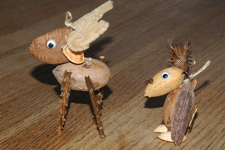 These homemade ornaments just celebrated their 20th holiday season. The reindeer has liatris stalk legs. The goony bird sports wings made from Siberian iris seed pods and a top knot of purple coneflower seed. They hang around reminding us of what fun it was and who it was who rummaged with us through the garden to create them.
